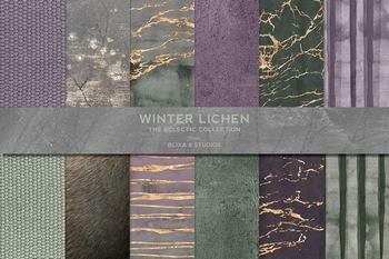 高清冷色系大理石和水彩绒毛质感背景图