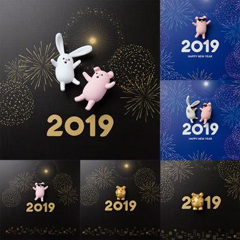 2019猪年新年可爱卡通小猪和兔子图片