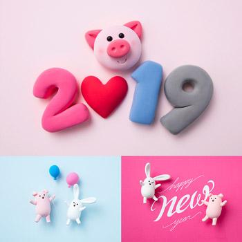 橡皮泥塑2019猪年可爱小猪高清图片