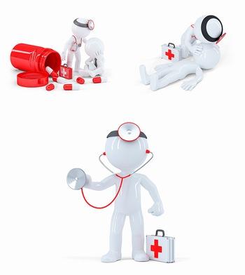 3D小人医疗ppt背景图片