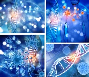 蓝色微观基因序列图形ppt背景图片
