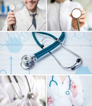 医用听诊器和医生戴听诊器ppt背景图片