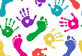 五颜六色的手印和脚印