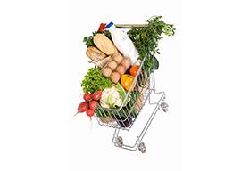 装满了蔬菜的超市购物车