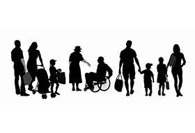家人在一起的黑白剪影